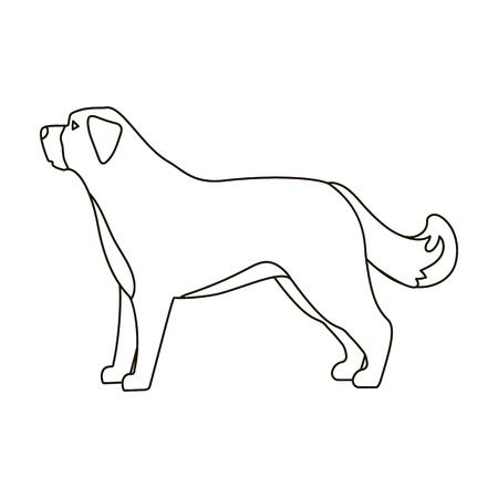 st bernard: St. Bernard dog icon in outline style isolated on white background. Dog breeds symbol vector illustration. Illustration