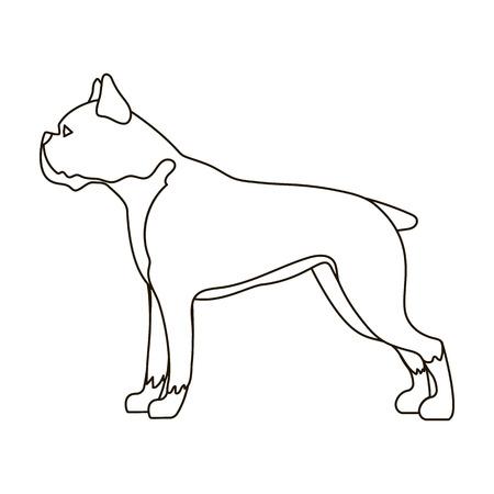 boxer dog: Boxer dog icon in outline style isolated on white background. Dog breeds symbol vector illustration.