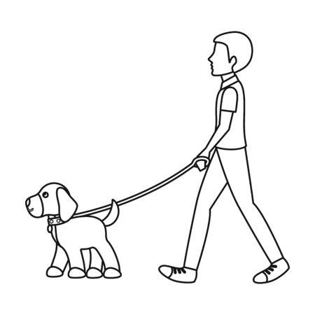 Dog walk-pictogram op hoofdlijnen stijl op een witte achtergrond. Hond symbool vector illustratie. Vector Illustratie