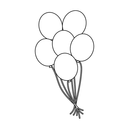 Balloons icon in outline style isolated on white background. Gay symbol vector illustration.