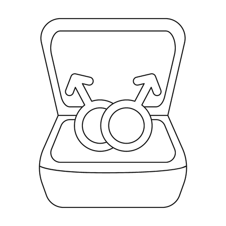 Ring icon in outline style isolated on white background. Gay symbol vector illustration. Illustration