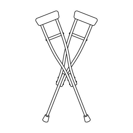 Icono de muletas en contorno estilo aislado sobre fondo blanco. Ilustración de vector de símbolo de medicina y hospital.