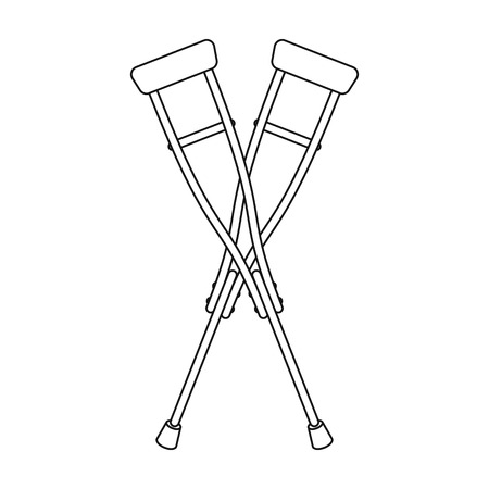 Crutches icon in outline style isolated on white background. Medicine and hospital symbol vector illustration. Illustration