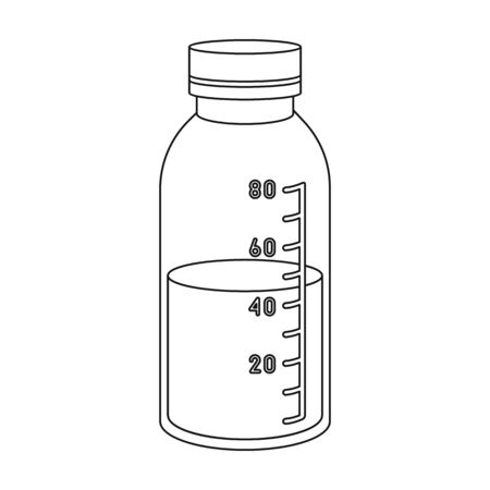 litre: Mixture icon in outline style isolated on white background. Medicine and hospital symbol vector illustration.
