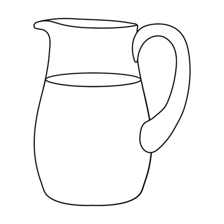 Milk jug icon in outline style isolated on white background. Milk symbol vector illustration.