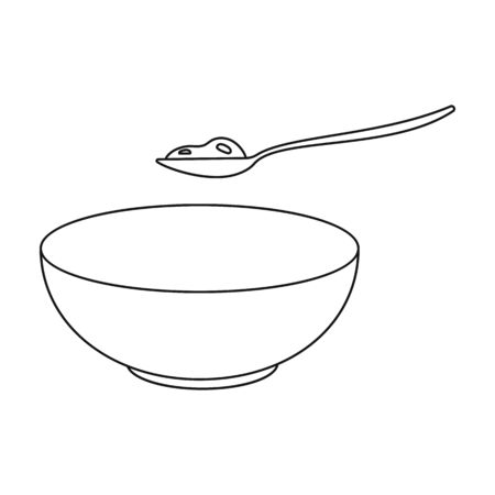 cottage cheese: Cottage cheese icon in outline style isolated on white background. Milk symbol vector illustration. Illustration