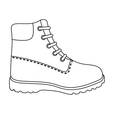 Icono de botas de senderismo en estilo de contorno aislado sobre fondo blanco. Zapatos de símbolo ilustración vectorial.