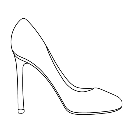 foot gear: Stiletto icon in outline style isolated on white background. Shoes symbol vector illustration.
