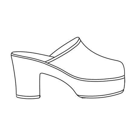Icona di Klogs in stile del contorno isolato su priorità bassa bianca. Illustrazione di vettore di simbolo di scarpe.