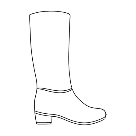 knee boots: Knee high boots icon in outline style isolated on white background. Shoes symbol vector illustration.