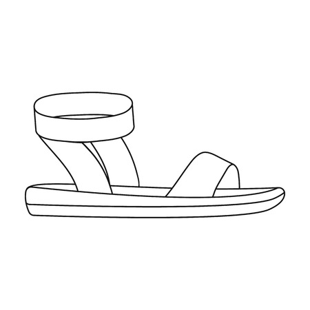 woman sandals: Woman sandals icon in outline style isolated on white background. Shoes symbol vector illustration. Illustration