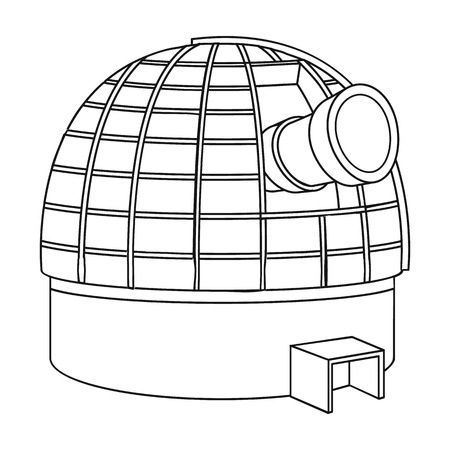 picto: Observatory icon in outline style isolated on white background. Space symbol vector illustration.