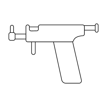 piercing: Ear piercing gun icon in outline style isolated on white background. Tattoo symbol vector illustration.