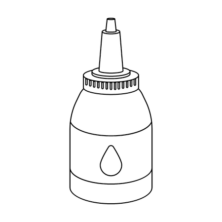 Tattoo paint tube icon in outline style isolated on white background. Tattoo symbol vector illustration. Illustration