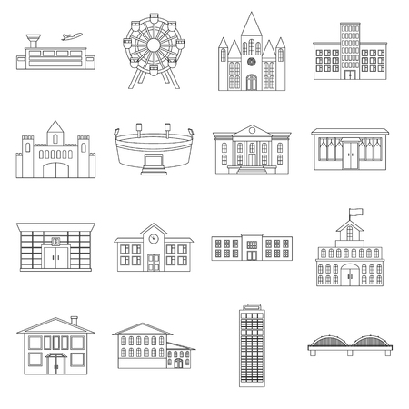 art museum: Building set icons in outline style. Big collection of building vector symbol stock