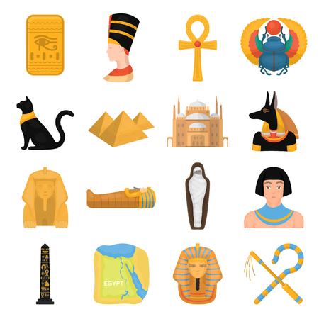 ojo de horus: El antiguo Egipto establece iconos de estilo de dibujos animados. Gran colección del antiguo Egipto símbolo vector stock