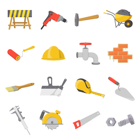 Build and repair set icons in cartoon style. Big collection of build and repair vector symbol stock