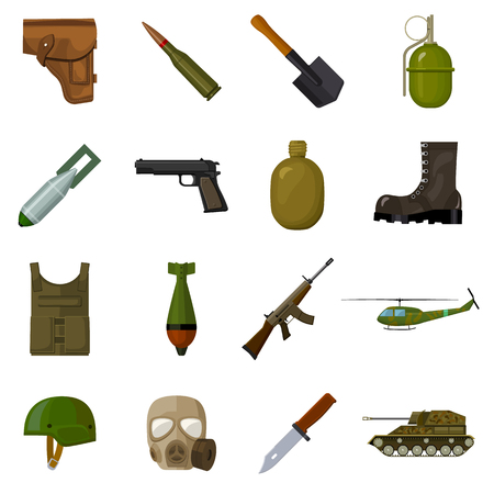holster: Military and army set icons in cartoon style. Big collection of military and army vector symbol stock