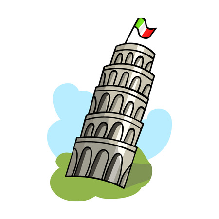 Tower of Pisa in Italy icon in cartoon style isolated on white background. Italy country symbol vector illustration.