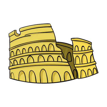 flavian: Colosseum in Italy icon in cartoon style isolated on white background. Italy country symbol vector illustration. Illustration