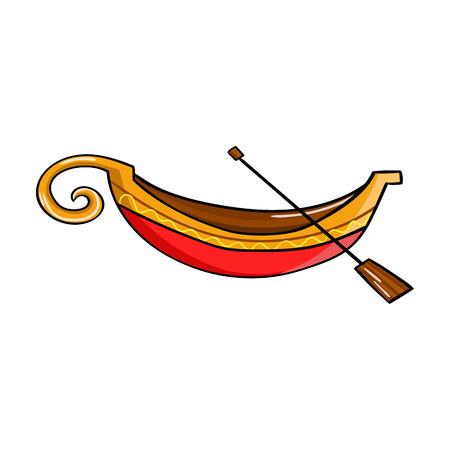 Italienische Gondel Symbol in Cartoon-Stil auf weißem Hintergrund. Italien Land Symbol Vektor-Illustration.