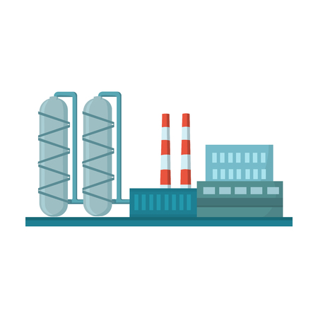 Oil refinery factory icon in cartoon style isolated on white background. Oil industry symbol vector illustration. Vektorové ilustrace