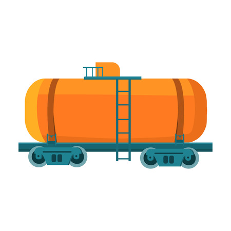 tank car: Oil tank car icon in cartoon style isolated on white background. Oil industry symbol vector illustration.