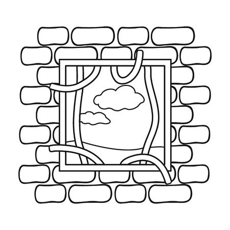 prison break: Prison escape icon in outline style isolated on white background. Crime symbol illustration. Illustration