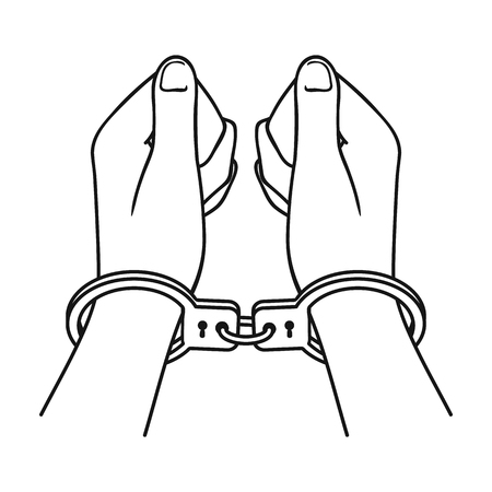 Hands in handcuffs icon in outline style isolated on white background. Crime symbol illustration.