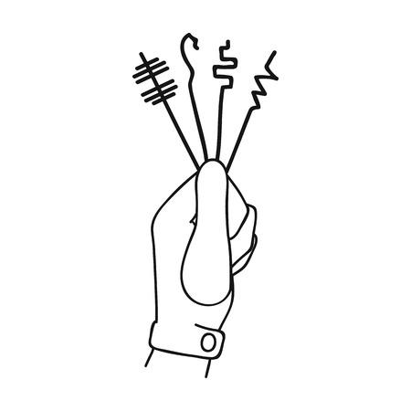 Lockpicks icon in outline style isolated on white background. Crime symbol illustration.