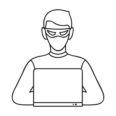 stealing data: Hacker icon in outline style isolated on white background. Crime symbol illustration.