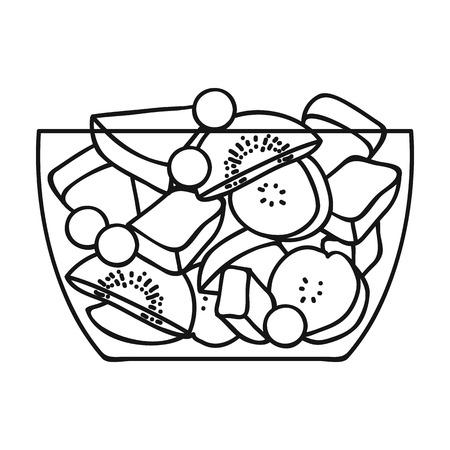 Fruitsalade icoon in outline stijl op een witte achtergrond. Sport en fitness symbool illustratie.