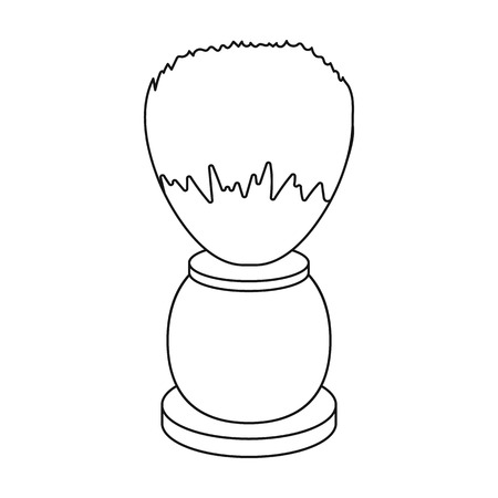 Shaving brush icon in outline style isolated on white background. Hairdressery symbol vector illustration.
