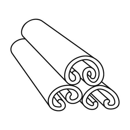Icona di cannella in stile di contorno isolato su sfondo bianco. Illustrazione vettoriale di erbe aromatiche di erbe.