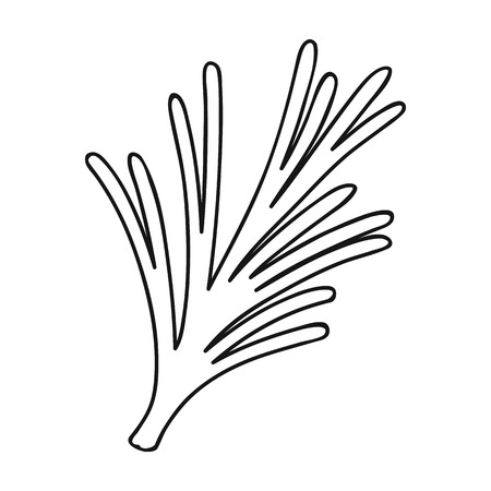 a sprig: Rosemary icon in outline style isolated on white background. Herb an spices symbol vector illustration.