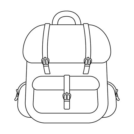 Hunting backpack icon in outline style isolated on white background. Hunting symbol vector illustration.  イラスト・ベクター素材