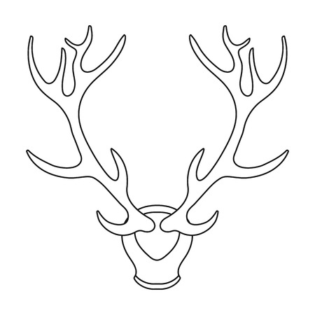 wildlife shooting: Deer antlers horns icon in outline style isolated on white background. Hunting symbol vector illustration. Illustration