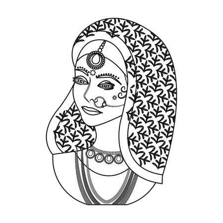Indian woman icon in outline style isolated on white background. India symbol vector illustration.