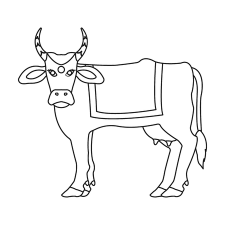 india cow: Sacred cow icon in outline style isolated on white background. India symbol vector illustration. Illustration