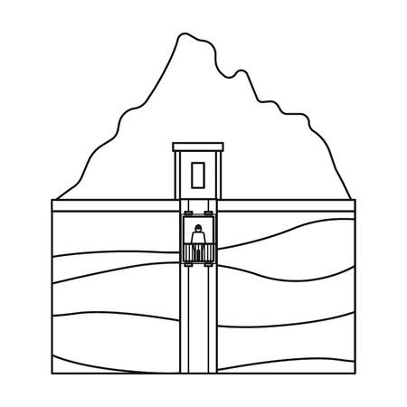 Schacht-Symbol im Umriss-Stil auf weißem Hintergrund. Minen Symbol Vektor-Illustration.