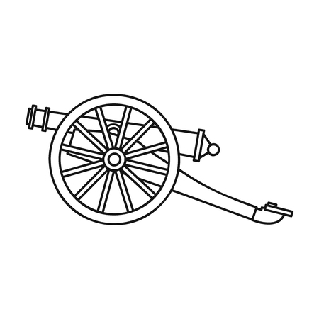 Cannon icon in outline style isolated on white background. Museum symbol vector illustration. Ilustrace