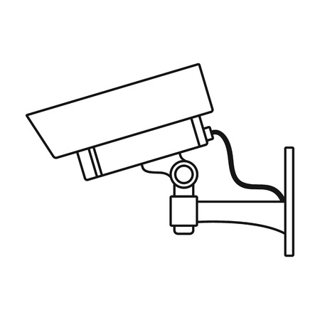 ip camera: Security camera icon in outline style isolated on white background. Museum symbol vector illustration.