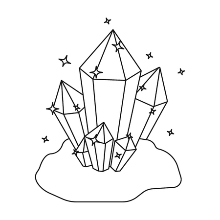 Crystals icon in outline style isolated on white background. Mine symbol vector illustration. Illustration