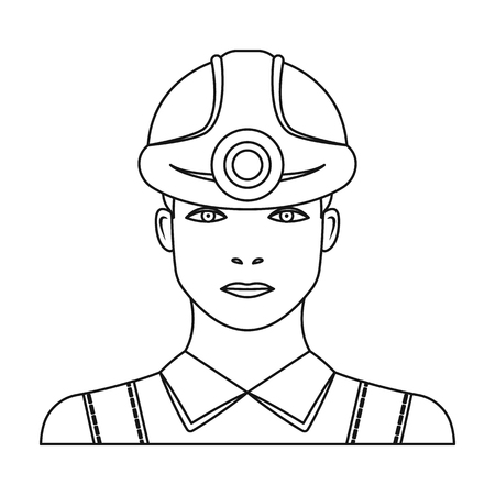 quarry: Miner icon in outline style isolated on white background. Mine symbol vector illustration. Illustration