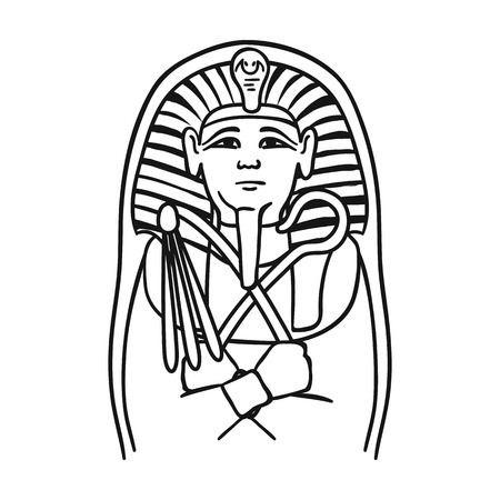Egyptian pharaoh sarcophagus icon in outline style isolated on white background. Museum symbol vector illustration.