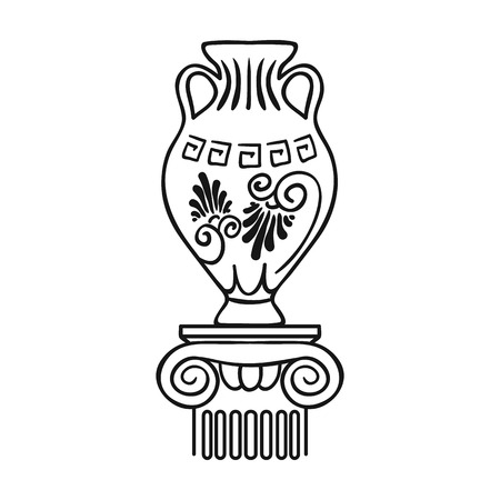 art museum: Amphora icon in outline style isolated on white background. Museum symbol vector illustration. Illustration