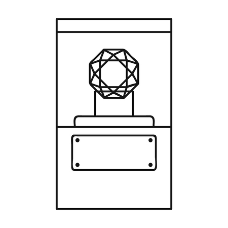 adamant: Diamond on a pedestal icon in outline style isolated on white background. Museum symbol vector illustration.