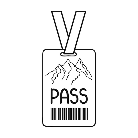 ski pass: Ski pass icon in outline style isolated on white background. Ski resort symbol vector illustration.