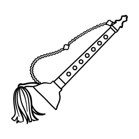 double reed: Taepyeongso icon in outline style isolated on white background. South Korea symbol vector illustration. Illustration
