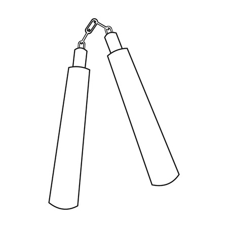 Nunchuck icon outline. Single weapon icon from the big ammunition, arms outline.